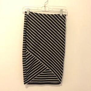 ZARA TRF asymmetric striped midi skirt